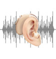 digital hearing aid behind the ear on the vector image vector image