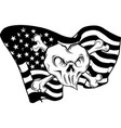 draw in black and white gold skull and flag usa vector image vector image