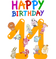 eleventh birthday anniversary card vector image vector image