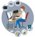 Graphic designer with a variety of tools vector image vector image