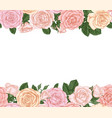 horizontal seamless background with pink roses vector image