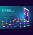 isometric web banner smartphone with mobile app vector image