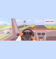 male hands driving car moving on highway vector image vector image