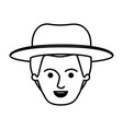 male young face with hat in monochrome silhouette vector image
