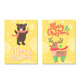 merry christmas postcard with cute deer profile vector image