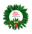 merry christmas round label green spruce branches vector image vector image
