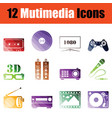 multimedia icon set vector image vector image