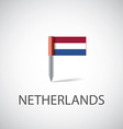netherlands flag pin vector image vector image