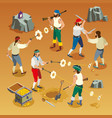 pirates game isometric composition vector image vector image