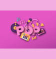 pop music style papercut musical icon template vector image vector image