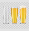 realistic 3d detailed beer mugs set vector image vector image