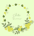 round frame flowers with words hello vector image