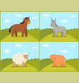 rural animal set on green hills tint vector image vector image