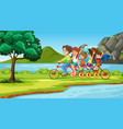 scene with family on tandem bike vector image vector image