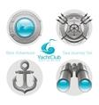Sea travel icon set with sailing icons porthole vector image vector image