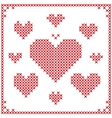 set cross stitch embroidery hearts vector image vector image