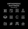 set line icons orthopedic mattress vector image