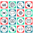set of 16 seo icons includes web page performance vector image