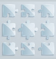 set of luminous pieces of puzzles vector image
