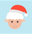 sheep wearing santa hat xmas character icon vector image vector image