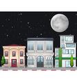 Shops along the street at night vector image