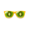 sunglasses with kiwi and white background vector image vector image