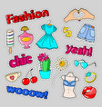 teenager fashion badges patches and stickers vector image vector image