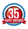 Thirty five years happy birthday badge ribbon vector image