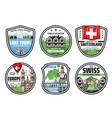 welcome to switzerland city landmark tours icons vector image vector image