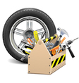 Wheel with Toolbox vector image vector image