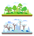 Winter and summer forest scenes in a y flat style vector image vector image