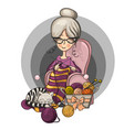 woman granny sits in a chair and knits knitting vector image vector image