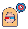 woman with 3d glasses and video inside chat bubble vector image