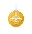 yellow christmas bulb with a snowflake in the vector image vector image