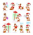 christmas funny cartoon dog set puppy emoticons vector image