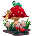 A mushroom surrounded with different insects vector image vector image