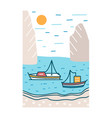 beautiful summer landscape with boats or yachts vector image