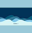 blue water wave background in papercut style vector image