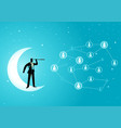 businessman standing on crescent moon with vector image vector image