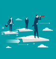 businessman standing on paper plane vector image