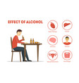cartoon effect of alcohol infographics card poster vector image vector image