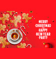 christmas background gingerbread cookies candy vector image vector image