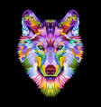 colorful wolf head on pop art style vector image vector image