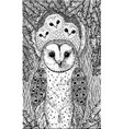 coloring page for adults with owls on the oak tree vector image