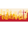 Construction Skyline Scene Red Background vector image vector image