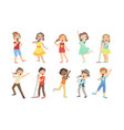 cute children singing with microphones set boys vector image vector image
