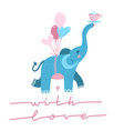 cute elephant with heart shaped balloon cartoon vector image