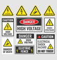 danger signs high voltage labels vector image
