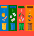 different recycling garbage cards waste types vector image vector image
