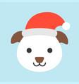 dog wearing santa hat flat icon design vector image vector image